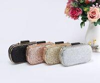 New Women's Glitter Patent Oval Hardcase Evening Clutch Purse Pouch Bag Handbag