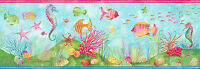 Under the Sea & Tropical Fish Wallpaper Border Seahorse blue Bathroom Wall Decor