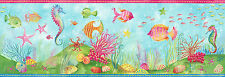 Under the Sea & Tropical Fish Wallpaper Border Seahorse blue Bathroom Wall Decor