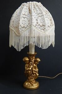 VINTAGE GOLD CHERUB TABLE LAMP & SHADE WORKING