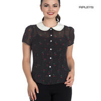Hell Bunny Shirt Top Black 50s Polka Dot SOPHIE Blouse Cherries Cherry All Sizes