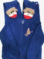 NICK & NORA Sock Monkey Pajamas Womens Large Blue One Piece Fleece Footed PJs