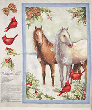 Christmas Fabric Winter Still Horse Cardinal Birds Holiday CP61282 ~ Wall Panel