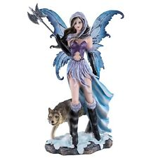 "Fairy With Wolf Figurine Statue Holding Poleaxe 11.25"" High New In Box"
