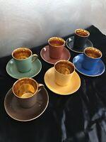 FIGGJO FLINT NORWAY- DEMITASSE/ ESPRESSO CUPS & SAUCERS 24K Gold 1950's VINTAGE