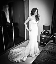RARE PRONOVIAS SILABA WEDDING DRESS LACE GEMSTONE PEARL EMBELLISHED TRAIN XS 6