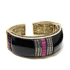 "HEIDI DAUS ""FRENCH CHIC"" BRONZETONE CRYSTAL-ACCENT 7"" BANGLE BRACELET QVC"
