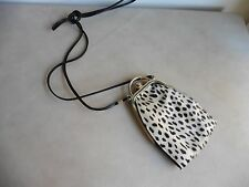 Animal hair on hide leather shoulder bag Italy small party, club needs mini TLC