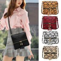 Fashion Serpentine Messenger Bag Women PU Leather Shopping Shoulder Handbag Tote