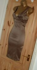 Jane Norman gold bronze satin pencil wiggle bodycon party evening dress sz 6 8