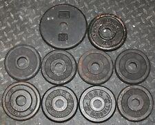 "9 x 2.5 lbs + 1-5 Lbs 1"" hole Barbell Weight Plates =27.5 lbs YORK CAP BILLARD"