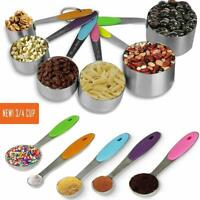 Measuring Cups Spoons Set Stainless Steel Nonslip Silicone Handle