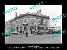 OLD LARGE HISTORIC PHOTO OF NORFOLK VIRGINIA DODGE & PLYMOUTH CAR STORE c1950