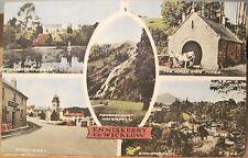 Irish Postcard ENNISKERRY Waterfall Wicklow Multiview Ireland Collo Colour 1950s