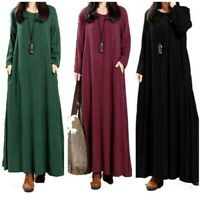 Plus Size Womens Loose Casual Maxi Full Length Dress Long Sleeve Kaftan Ethnic D