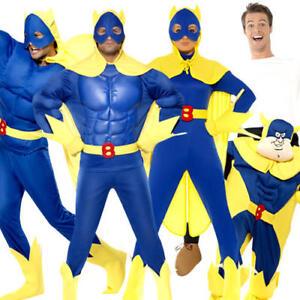 Bananaman Adults Fancy Dress British Cartoon Superhero Mens Ladies Woman Costume