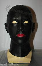 LATEX BLACK RUBBER HOOD DISGUISE FANCY DRESS FULL HEAD WOMAN FACE FEMALE MASK
