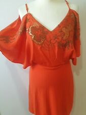 Karen Millen UK 12 Orange Gold Sequin Off cold shoulder Boho Silk Dress wing