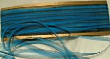 """ANTIQUE/VINTAGE 1/4"""" SHEER SILK OMBRE RIBBON - 15 YARDS - TURQUOISE / BLACK"""
