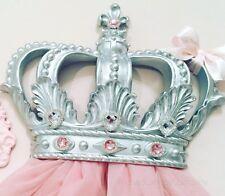 Corona De Plata Cristal Dosel Rosa Princesa Cuna Cama Pared y Voile Cortinas Dormitorio 👑