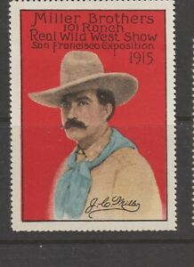 US Poster Stamp PPIE 1915 Miller Brothers Wild West Show