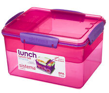 Sistema 2.3L Lunch Tub Box Storage Container with Multi Compartment Insert Pink