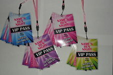 Personalised VIP Pass Lanyard-Hen Night Do Birthday Party-pink,purple,blue,green