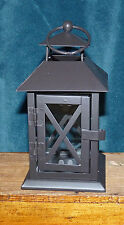 NEW MINI RUSTIC METAL & GLASS LANTERN TEA LIGHT HOLDER!