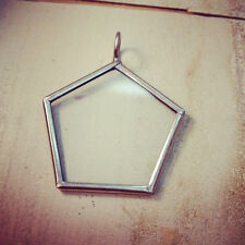 Pentagon Geometric Silver One-Sided Glass Frame Necklace, Pendant & Chain