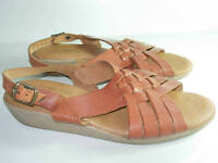 WOMENS BROWN LEATHER RED CROSS OPEN TOE SANDALS SLINGBACK HEELS SHOES SIZE 7.5
