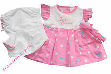 VESTITO 3 PZ LITTLE PRINCESS ROSA Neonata Tgl 0/3 3/6 6/9 Mesi / [3494]