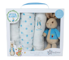 Peter Rabbit Comfort Soft Toy Muslin Square Baby Shower Gift Boy Girl Unisex