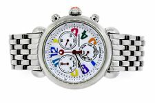Michele CSX Carousel Rainbow Watch White Dial Chronograph SHORT 5.5""
