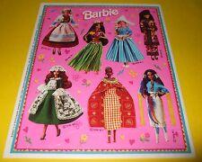 Vtg 90s 1996 Hallmark/Ambassador Sticker Sheet~BarbiE Dolls of the World~Mattel