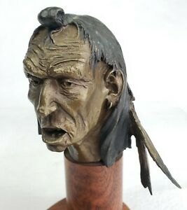 """Original Dave McGary Small Native American Story Teller Small 6""""  Bronze Bust"""