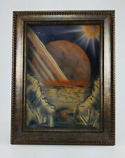 Art print with easel frame Science Fiction artwork Planet and Landscape scenery