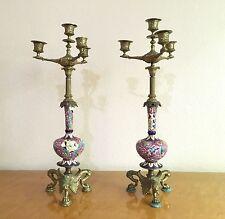 "Pair Antique Bronze Empire Candelabra w/ Longwy Vases, Barbedienne ? French 21"""