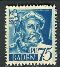 GERMANY ALLIED OCC BADEN;   1947 early pictorial Mint MNH unmounted 75pf.