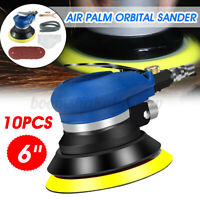 10PCS 6'' Air Random Orbital Palm Sander Dual Action Auto Body Vacuum Polisher