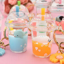 Cartoon Cute Bag Pendant Accessories Couple Acrylic Milk Tea Cup Liquid Keychain