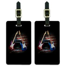 Electric Guitars American USA Flag Rock and Roll Luggage ID Tags Cards Set of 2