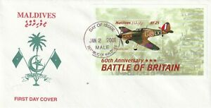 MALDIVES 2 JAN 2001 60th ANN BATTLE OF BRITAIN M/SHEET FIRST DAY COVER