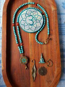 Mala Beads Inter-changable Pendants Charms Nepalese Turquoise Blue 108 Jasper