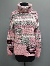 SPARROW Pink Black White Cotton Blend Striped Turtleneck Sweater Sz S DD8641