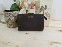 Coach Crossgrain Brown Leather Wallet Zippered Pocket Compact