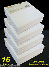 16 Pack - 20 x 20cm Blank Artist Stretch Canvas - Cotton