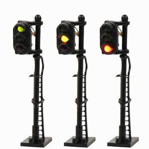 3PCS Model Railroad N Scale Train Signals 3-Lights 1:150 Block Signal G/Y/R