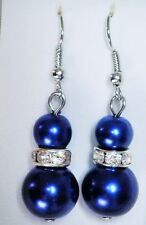 Dark blue drop earrings double faux pearl 6mm and 12mm and crystal silver tone