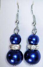 Dark Blue Double Faux Pearl (6mm &12mm) & Crystal Silver Tone Drop Earrings