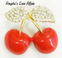 VINTAGE STYLE DELICIOUS GOLDTONE RED CHERRIES WITH CRYSTAL LEAVES BROOCH PIN